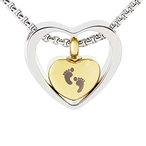 Baby Feet Double Heart Cremation Urn Necklace Keepsake Memorial Ashes Pendant Jewelry (Gold)