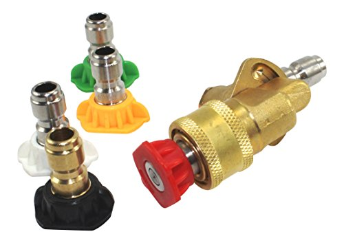 Pressure Washer Nozzle Tips and Quick Connect Pivot Coupler – ¼ in, 3.0 GPM, 1500-3750 PSI, 0, 15, 25, 45, 60 – For Most Power Washer Spray Wands and Accessories – Free Industrial Cotton Bag by Hurleco (Image #4)
