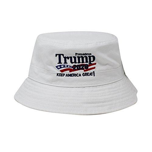 (ChoKoLids Trump 2020 Keep America Great Campaign Embroidered USA Hat | Baseball Bucket Trucker Cap (Bucket White))