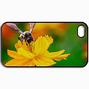 Personalized Protective Hardshell Back Hardcover For iPhone 4/4S, Bee Design In Black Case Color