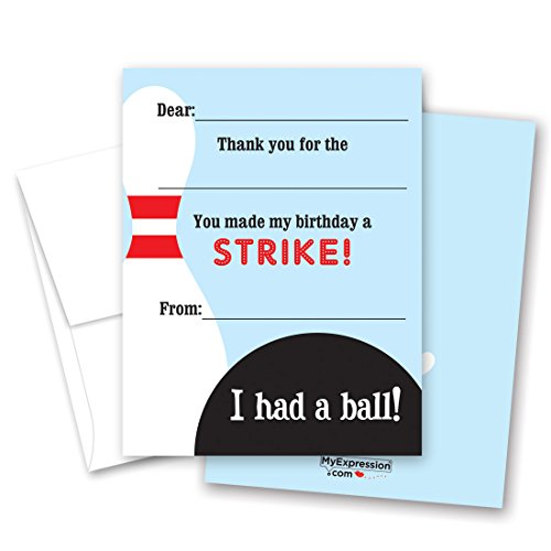 20 Fun Bowling Fill-in Children Birthday Thank You Cards -