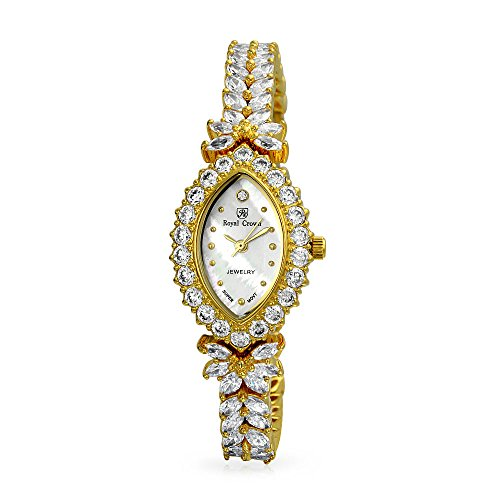 (Bling Jewelry MOP Stainless Steel Back Gold Plated Marquise Cubic Zirconia Dress Watch)