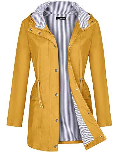 Bloggerlove Women Raincoats Waterproof Windbreaker Lightweight Outdoor Hooded Trench Coats Yellow Medium