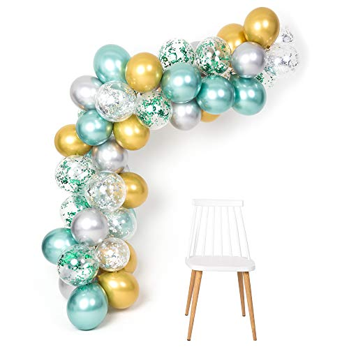 Mint Gold Silver Metallic Balloons Arch Kit 12inch 50pcs for Baby Shower Jungle Theme Party Supplies Birthday Bridal Shower Wedding -