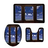 iPrint Fashion 3D Baseball Printed,Beach Decor,Sea Ocean Scenery Waves View from Summer House Window Image,Dark Brown Navy Blue and White,U-Shaped Toilet Mat+Area Rug+Toilet Lid Covers 3PCS/Set