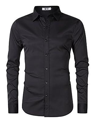 MrWonder Men's Bamboo Fiber Dress Shirt Elastic Casual Slim Fit Solid Long Sleeve Button Down Shirts