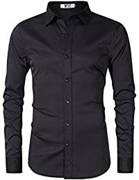 Men's Bamboo Fiber Dress Shirt Elastic Casual Slim Fit Solid Long Sleeve Button Down Shirts