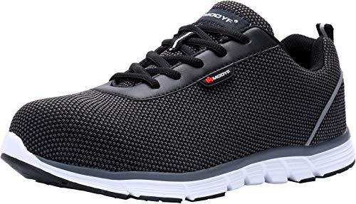 LARNMERN Steel Toe Womens Safety Shoes, Breathable Lightweight Reflective Strips SRB Industrial Construction Shoes (8, Flyknit Black)