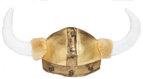 Jacobson Hat Company Men's Viking Hat with Faux Fur and Brass Button Trim, Gold, (Viking Hats For Sale)