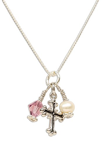 Girl's First Communion Sterling Silver June Swarovski-Created Birthstone Cross Necklace with Cultured Pearl