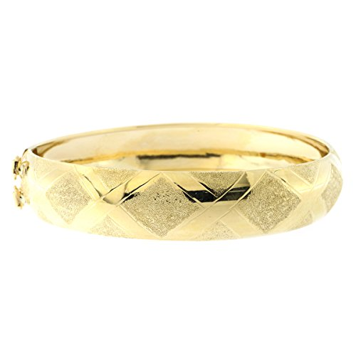 10k Pattern Bracelet - 10k Yellow Gold 12mm Wide Textured and Polished