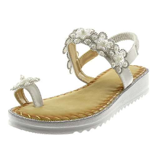 a045c7c151bd6f Angkorly Damen Schuhe Sandalen FlipFlops SlipOn Blumen Perle Strass ...