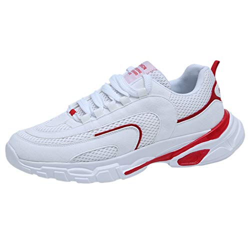 Braloneesc New Sneakers Fitness Trekking Running Shoes Road Sport Air Men's Sneaker Breathable Non-Slip Casual Trainers Red