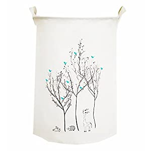TIBAOLOVER19.7 Large Sized Waterproof Foldable Laundry Hamper Bucket,Dirty Clothes Laundry Basket,Bin Storage Organizer for Toy Collection,Canvas Storage Basket with Stylish Design(Bird on The Tree)