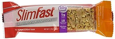 Slim Fast Advanced Nutrition Meal Bar, Caramel Almond Sea Salt, 1.59 oz, 4 Count (Pack of 4)