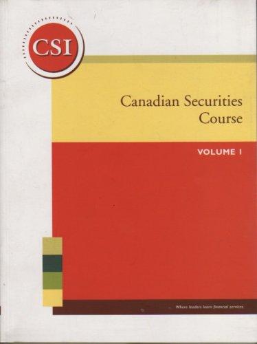 Canadian Securities Course Volume 1 pdf