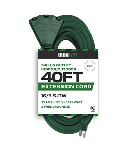 40 Foot Outdoor Extension Cord with 3 Electrical Power Outlets - 16/3 SJTW Durable