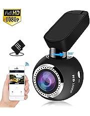 """Telecamera Auto WiFi HQBKING Auto Camera Dashcam 1080P con Visione Notturna 170 Gradi Rilevazione di Movimento, Registrazione in Loop WDR G-Sensor e 1.5"""" Schermo LCD 360 ruota, 16G Card inclusa"""