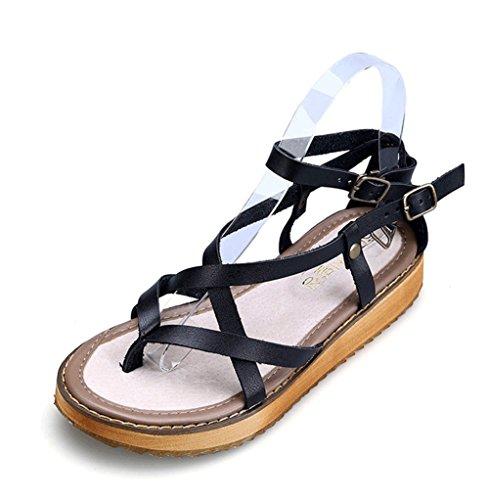 NVXIE Femmes Cuir Cheville Sangle des Sandales Noir Open Toe Confort Appartement Chaussures Taille 35-45 black