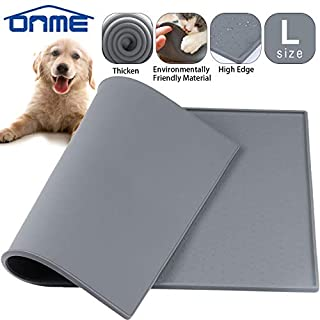 ONME Dog Cat Feeding Mat, Silicone Waterproof Pet Food Mat, Dog Cat Food Mat, Non Slip Dog Cat Bowl Placemat (M (18.511.5 in))
