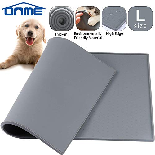 ONME Pet Food Mat, Large Dog Food Mats FDA Grade Dog Dish Mat Silicone Dog Food Water Mat Waterproof Pet Feeding Mats for Dog and Cat, Non-Slip Dog Bowl Mat, -