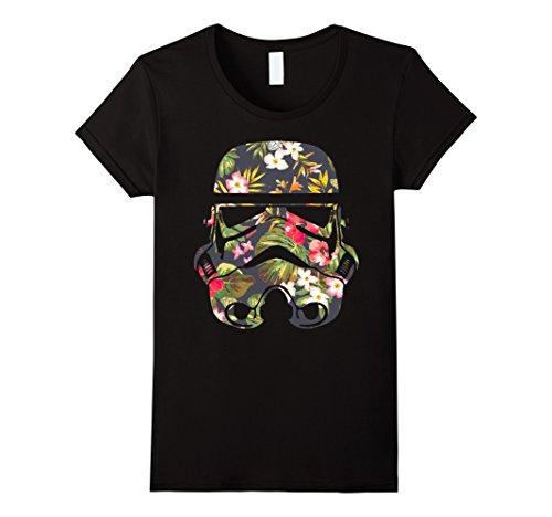 Star Wars Shirt Womens (Womens Star Wars Tropical Stormtrooper Floral Print Graphic T-Shirt Medium Black)
