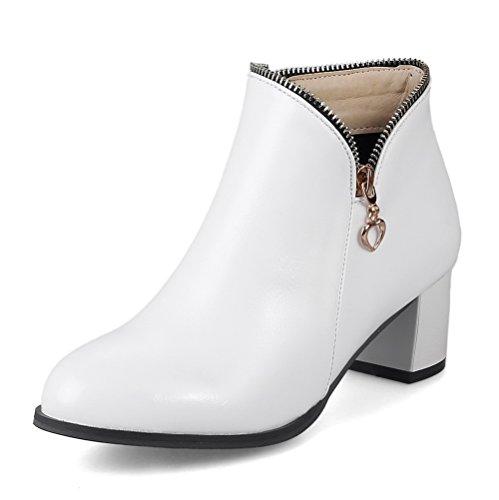 AllhqFashion Damen Blockabsatz Reißverschluss Mittler Absatz Stiefel, Weiß, 43