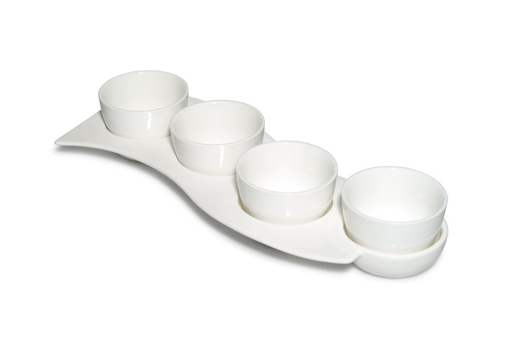 Carmona Circ Collection Porcelain White New Bone China Set of 4, 3.8oz Dessert Cups Bowls with a Four Component Sectional Dish 13in Tray