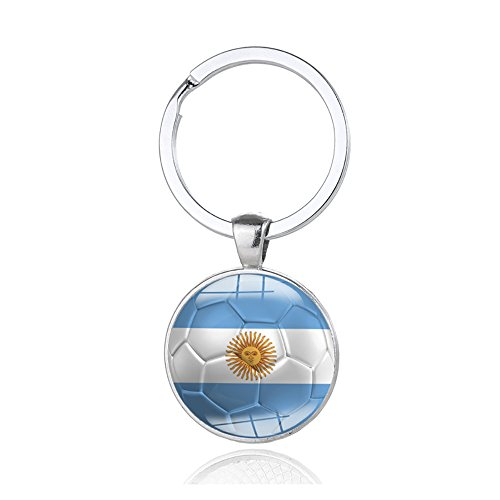 y Rings with A National Flags Pattern Pendant FIFA Russia World Cup Football Fans Keychain Gift (Argentina) (Christmas Ornaments Russia)