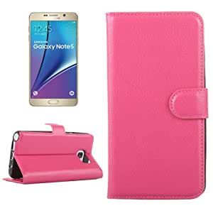 Texture lichis Horizontal Leather Case Funda Flip Cover con Holder & & Wallet bolsillos internos para Samsung Galaxy Note 5 () Magenta