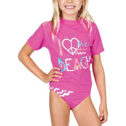 Size XL//6X Billabong Girls Wavy Rashguard 2 Piece Set Swimsuit Magenta