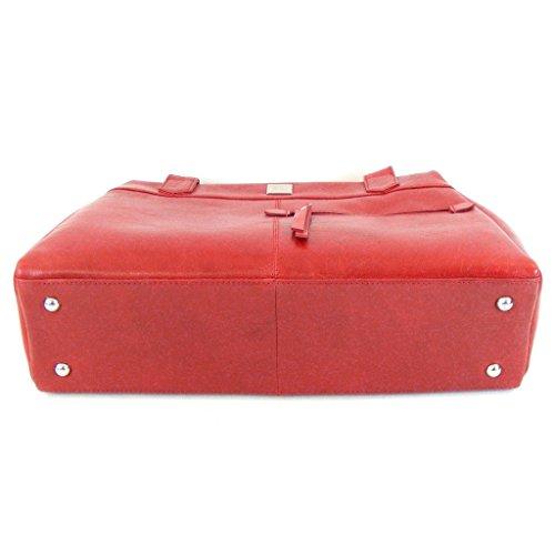 Pavini Damen Tasche Shopper Siena Leder rot 12413 Reißverschluss Handyfach