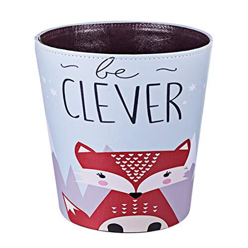 (HMANE 10L/2.64 Gallon PU Leather Trash Can Waterproof Cartoon Animal Pattern Decorative Paper Basket for Children's Bedroom - (Fox))