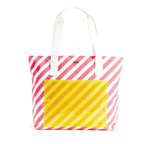 Ban.do Super Chill Cooler Bag, Neon Ticket Stripe, Pink/White