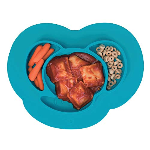 - mDesign Silicone Mini Mealtime Plate and Placemat for Babies, Toddlers, Kids - BPA Free, Food Safe � Stays in Place � 3 Sections - Microwave and Dishwasher Safe, Fun Monkey Design, Teal Blue