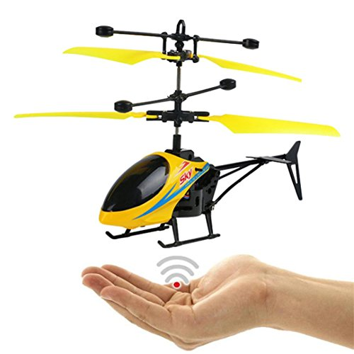 Sympath Flying Mini RC Infraed Induction Helicopter Aircraft Flashing Light Toys For Kid (Yellow) (Mini Fly Helicopter)