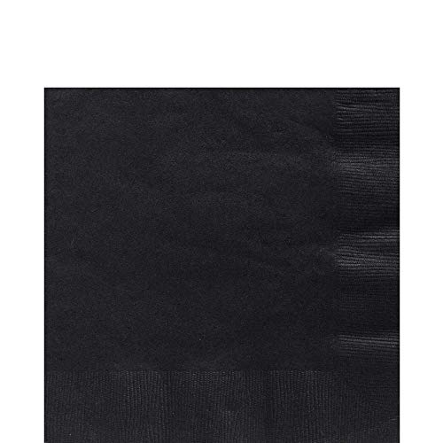 Big Party Pack Jet Black Luncheon Napkins | Pack of 125 | Party Supply -