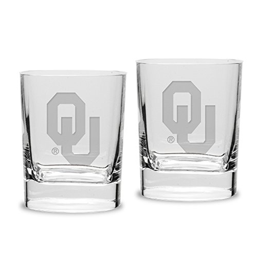 NCAA Oklahoma Sooners Adult Unisex Set of 2 - 14 oz Square Double Old Fashion Glasses Deep Etched Engraved, One Size, - Sooner Fashion