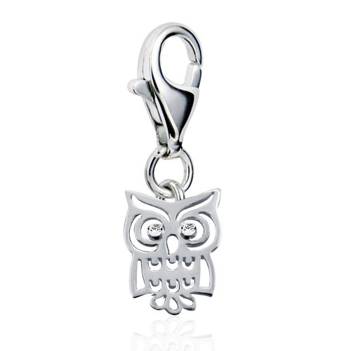 925 Sterling Silver Adorable Cut Out Owl Bird with White CZ Lobster Clasp Charm
