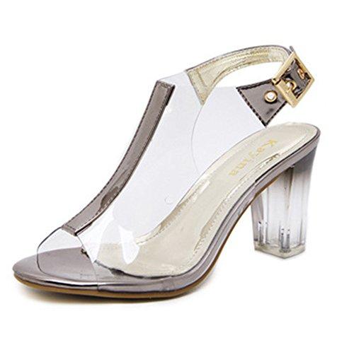 Aisun Damen Transparent Kunstoff PVC Peep Toe Slingback Blockabsatz Sandale mit Schnalle