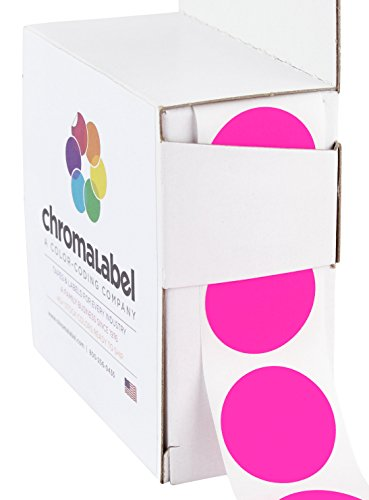 "1"" Fluorescent Pink, Color-Code Dot Labels (Write On Surface) 