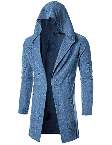 GIVON Mens Long Sleeve Draped Lightweight Open Front Longline Hooded Cardigan/DCC155-BLUE-L