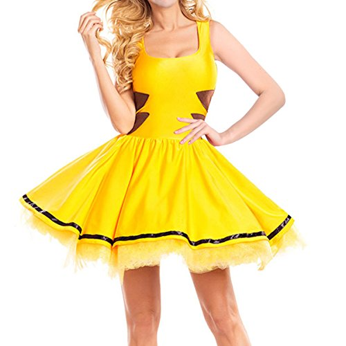 Quesera Women's Pikachu Costume Skater Dress Outfit Halloween Cosplay Costume, Yellow, S