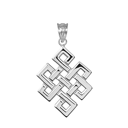 (Fine Sterling Silver Japanese Endless Knot Pendant)