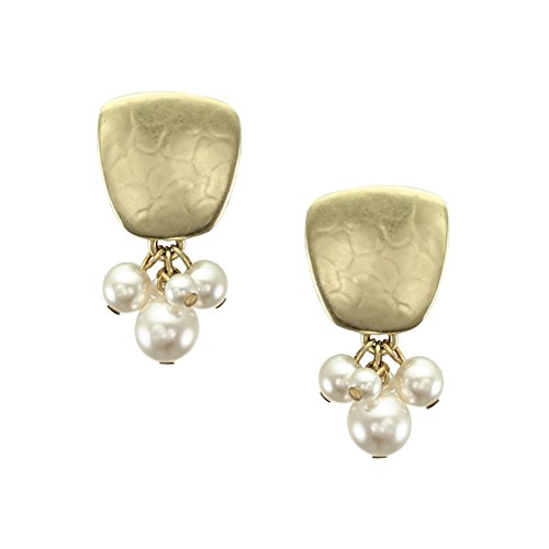 Marjorie Baer Brass Tapered Square with Swarovski Pearl Cluster Clip on Earring
