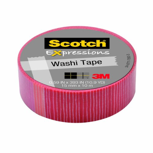 (Scotch Expressions Washi Tape, .59-Inches x 393-Inches, Pink/Red Stripe, 6 Rolls/Pack)