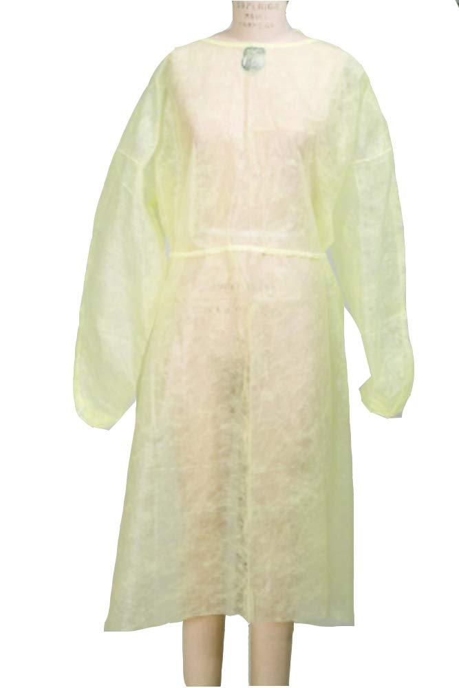 Procedure Gowns. Pack of 50 Adult Disposable Gowns. Yellow Protective Gowns with Long sleeves, Neck and Waist ties. Non-sterile examination gowns. One size.