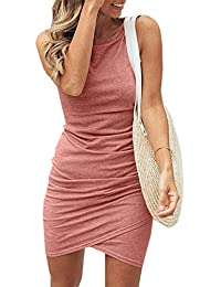 d25adcc8bcd3d Summer Tshirt Dresses for Women Casual Ruched Irregular Bodycon Short Mini  Dress