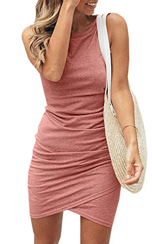 Summer Tshirt Dresses for Women Casual Ruched Irregular Bodycon Short Mini Dress (Medium, Coral)