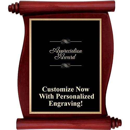 Plaque Engraved Rosewood - Custom Engraved Rosewood Scroll Plaques, Personalized Appreciation Award Plaque with Up to 5 Lines of Engraving Included Prime